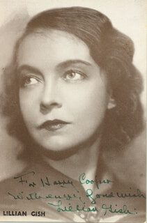 LILLIAN GISH - AUTOGRAPHED INSCRIBED PHOTOGRAPH