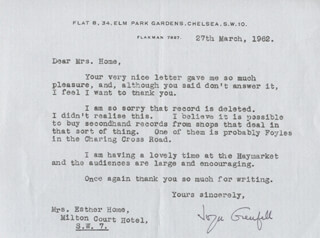 JOYCE GRENFELL - TYPED LETTER SIGNED 03/27/1962