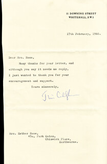 PRIME MINISTER JAMES CALLAGHAN (GREAT BRITAIN) - TYPED LETTER SIGNED 02/17/1966