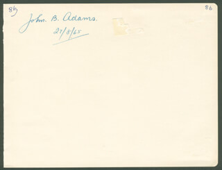 Autographs: JOHN BERTRAM ADAMS - SIGNATURE(S) 08/27/1965