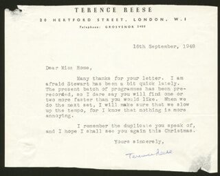 TERENCE REESE - TYPED LETTER SIGNED 09/16/1948