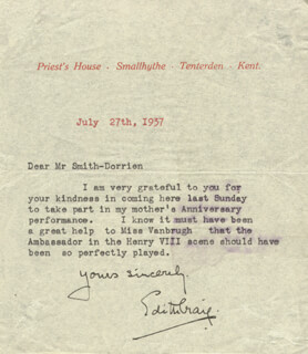 EDITH CRAIG - TYPED LETTER SIGNED 07/27/1937