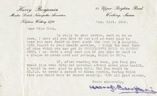 HARRY BENJAMIN - TYPED LETTER SIGNED 03/21/1962
