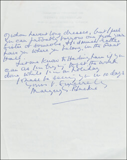 DR. MARGERY G. BLACKIE - AUTOGRAPH LETTER SIGNED 09/08