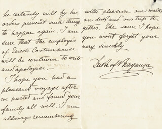 Autographs: KING CARLOS I (PORTUGAL) - AUTOGRAPH LETTER SIGNED 07/14/1886