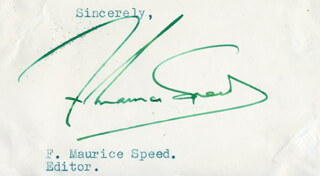 F. MAURICE SPEED - TYPED SENTIMENT SIGNED