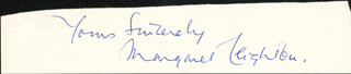 MARGARET LEIGHTON - AUTOGRAPH SENTIMENT SIGNED