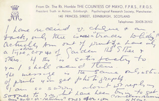 Autographs: (NOEL JESSIE WILSON) COUNTESS OF MAYO - AUTOGRAPH LETTER SIGNED 07/12/1949