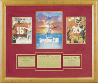 JOE MONTANA - SUPER BOWL PROGRAM SIGNED CIRCA 1989 CO-SIGNED BY: JERRY RICE