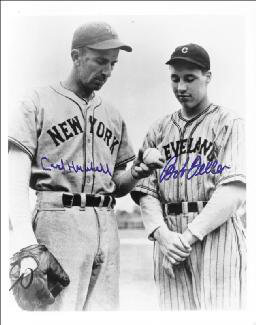 CARL HUBBELL - AUTOGRAPHED SIGNED PHOTOGRAPH CO-SIGNED BY: BOB FELLER - HFSID 143935