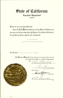 CHIEF JUSTICE EARL WARREN - CIVIL APPOINTMENT SIGNED 09/19/1947 CO-SIGNED BY: FRANK M. JORDAN