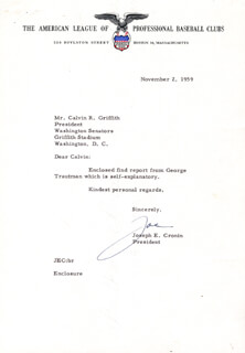 JOE CRONIN - TYPED LETTER SIGNED 11/02/1959