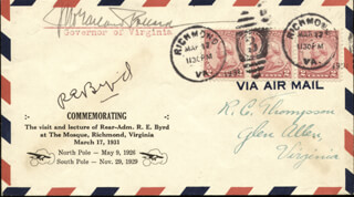 REAR ADMIRAL RICHARD E. BYRD - COMMEMORATIVE ENVELOPE SIGNED CO-SIGNED BY: GOVERNOR JOHN GARLAND POLLARD