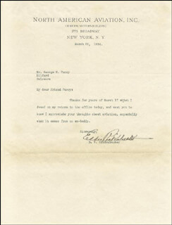 MAJOR EDWARD V. EDDIE RICKENBACKER - TYPED LETTER SIGNED 03/22/1934