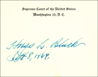 Autographs: ASSOCIATE JUSTICE HUGO L. BLACK - SUPREME COURT CARD SIGNED 09/08/1964