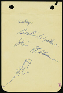 Autographs: THE BROOKLYN DODGERS - SIGNATURE(S) CIRCA 1956 CO-SIGNED BY: KEN LEHMAN, JIM JUNIOR GILLIAM