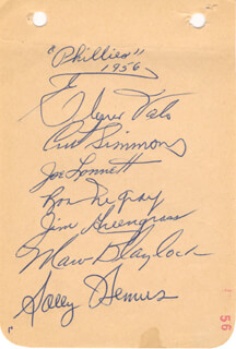Autographs: THE PHILADELPHIA PHILLIES - SIGNATURE(S) CIRCA 1956 CO-SIGNED BY: ELMER VALO, JOE LONNETT, JIM GREENGRASS, SOLOMON SOLLY HEMUS, RON NEGRAY, CURT SIMMONS, MARV BLAYLOCK