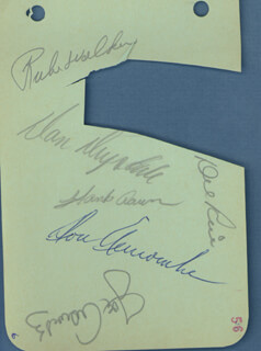 MILWAUKEE BRAVES - AUTOGRAPH CIRCA 1956 CO-SIGNED BY: RUBE WALKER, HANK AARON, JOE ADCOCK, DON DRYSDALE, DEL RICE