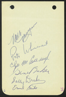 Autographs: THE CHICAGO CUBS - SIGNATURE(S) CIRCA 1956 CO-SIGNED BY: GENE BAKER, ERNIE MR. CUB BANKS, PETE WHISENAT, SOLLY DRAKE, WALT MOOSE MORYN, CLYDE McCULLOUGH