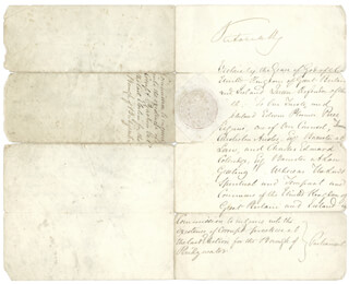 QUEEN VICTORIA (GREAT BRITAIN) - MANUSCRIPT DOCUMENT SIGNED 06/23/1869 CO-SIGNED BY: HENRY AUSTIN 1ST BARON ABERDARE BRUCE