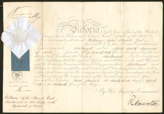 Autographs: QUEEN VICTORIA (GREAT BRITAIN) - MILITARY APPOINTMENT SIGNED 04/21/1853 CO-SIGNED BY: PRIME MINISTER HENRY JOHN TEMPLE (GREAT BRITAIN)
