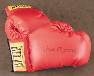 ARCHIE MOORE - BOXING GLOVES SIGNED