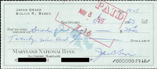 ENOLA GAY CREW (JACOB BESER) - AUTOGRAPHED SIGNED CHECK 05/05/1969