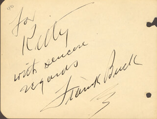 Autographs: FRANK BRING 'EM BACK ALIVE BUCK - AUTOGRAPH NOTE SIGNED CIRCA 1934 CO-SIGNED BY: JANE GRISWOLD
