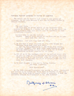 FIELD MARSHAL MONTGOMERY OF ALAMEIN (BERNARD MONTGOMERY) - TYPESCRIPT SIGNED