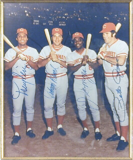 CINCINNATI REDS - AUTOGRAPHED SIGNED PHOTOGRAPH CO-SIGNED BY: JOHNNY BENCH, JOE LITTLE JOE MORGAN, TONY PEREZ, PETE ROSE