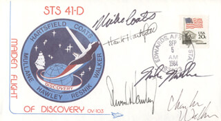CAPTAIN MICHAEL L. COATS - COMMEMORATIVE ENVELOPE SIGNED CO-SIGNED BY: STEVEN A. HAWLEY, CHARLES D. WALKER, COLONEL RICHARD MIKE MULLANE, COLONEL HENRY HANK HARTSFIELD JR.