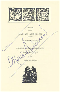 Autographs: MARIAN ANDERSON - PROGRAM SIGNED CIRCA 1956