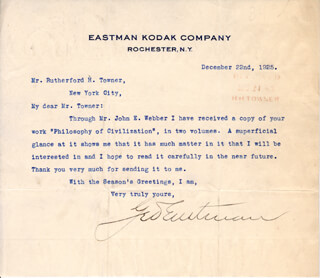 GEORGE EASTMAN - TYPED LETTER SIGNED 12/22/1925