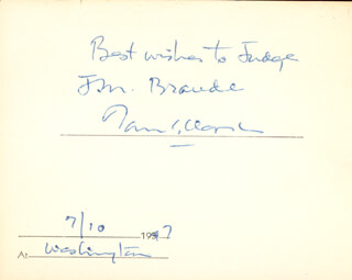 Autographs: ASSOCIATE JUSTICE TOM C. CLARK - AUTOGRAPH NOTE SIGNED 07/10/1947