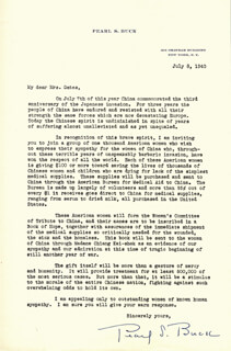 PEARL S. BUCK - TYPED LETTER SIGNED 07/08/1940