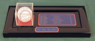 500 HOME RUN HITTERS - AUTOGRAPHED SIGNED BASEBALL CO-SIGNED BY: HARMON KILLEBREW, WILLIE STRETCH McCOVEY, ERNIE MR. CUB BANKS, REGGIE MR. OCTOBER JACKSON, MIKE SCHMIDT, TED WILLIAMS, FRANK ROBINSON, HANK AARON, MICKEY MANTLE, EDDIE MATHEWS, WILLIE SAY HEY KID MAYS
