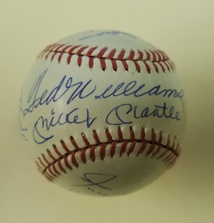 Autographs: 500 HOME RUN HITTERS - BASEBALL SIGNED CO-SIGNED BY: HARMON KILLEBREW, WILLIE STRETCH McCOVEY, ERNIE MR. CUB BANKS, REGGIE MR. OCTOBER JACKSON, MIKE SCHMIDT, TED WILLIAMS, FRANK ROBINSON, HANK AARON, MICKEY MANTLE, EDDIE MATHEWS, WILLIE SAY HEY KID MAYS