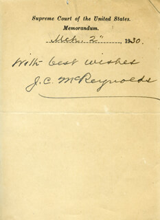 ASSOCIATE JUSTICE JAMES C. MCREYNOLDS - MEMORANDUM SIGNED 03/02/1930