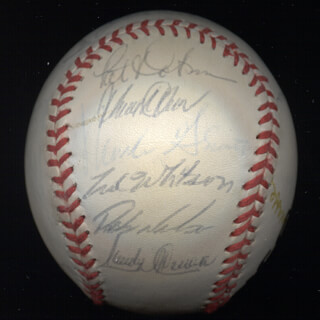 THE SAN DIEGO PADRES - AUTOGRAPHED SIGNED BASEBALL CIRCA 1989 CO-SIGNED BY: TONY GWYNN, ERIC SHOW, CARMELO MARTINEZ, ED (EDDIE LEE) WHITSON, JACK THE RIPPER CLARK, BRUCE VEE HURST, DENNIS LEE RASMUSSEN, ROBERTO ALOMAR, WALT (CHARLES WALTER) TERRELL, MARK GRANT, ROB NELSON, BIP (LEON JOSEPH III) ROBERTS, MARK DAVIS, TIM FLANNERY, BENITO SANTIAGO, SANDY ALOMAR JR., JACK TRADER JACK McKEON