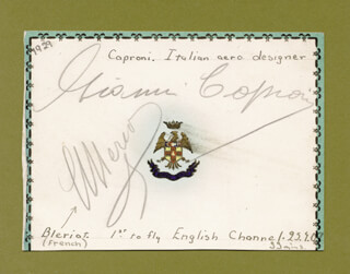 Autographs: LOUIS BLERIOT - SIGNATURE(S) CIRCA 1929 CO-SIGNED BY: COUNT GIOVANNI BATTISTA GIANNI CAPRONI