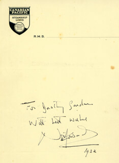 SIR NOEL COWARD - AUTOGRAPH NOTE SIGNED 1932  - HFSID 145097