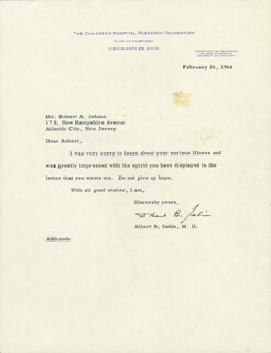 DR. ALBERT B. SABIN - TYPED LETTER SIGNED 02/26/1964