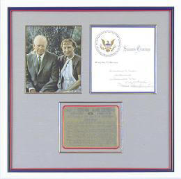 Autographs: PRESIDENT DWIGHT D. EISENHOWER - WHITE HOUSE CHRISTMAS CARD SIGNED CIRCA 1957 CO-SIGNED BY: FIRST LADY MAMIE DOUD EISENHOWER
