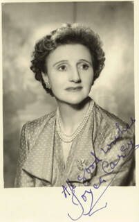 JOYCE CAREY - AUTOGRAPHED SIGNED PHOTOGRAPH