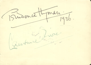 LAURENCE OLIVIER - AUTOGRAPH 1936 CO-SIGNED BY: PRUDENCE HYMAN, MURIEL GEORGE, GEOFFREY NARES