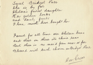 GEORGE CROSS - AUTOGRAPH POEM SIGNED CO-SIGNED BY: PHYLLIS DARE