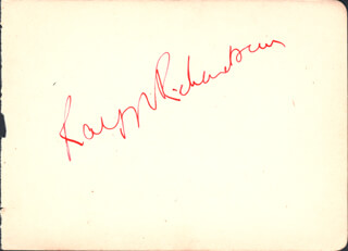 SIR RALPH RICHARDSON - AUTOGRAPH CO-SIGNED BY: JACQUELINE D'ORVILLE