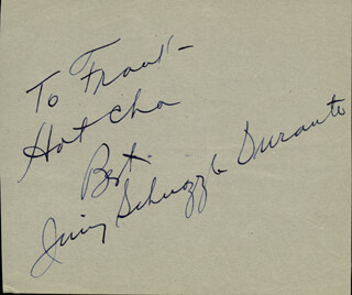 JIMMY SCHNOZZOLA DURANTE - INSCRIBED SIGNATURE