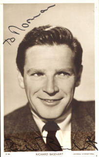 RICHARD BASEHART - INSCRIBED PICTURE POSTCARD SIGNED