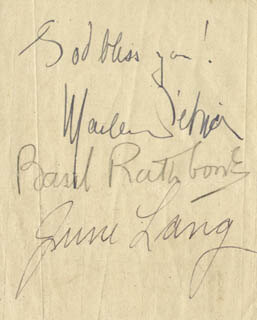 MARLENE DIETRICH - AUTOGRAPH CO-SIGNED BY: JUNE LANG, BASIL RATHBONE